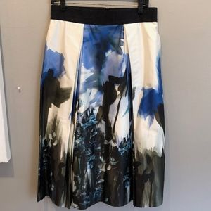 MILLY A-line Soft-pleat Watercolor Skirt, EUC